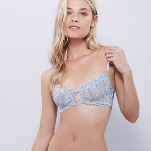 Picture of Satin and Lace Shelf Bra - Baby Blue